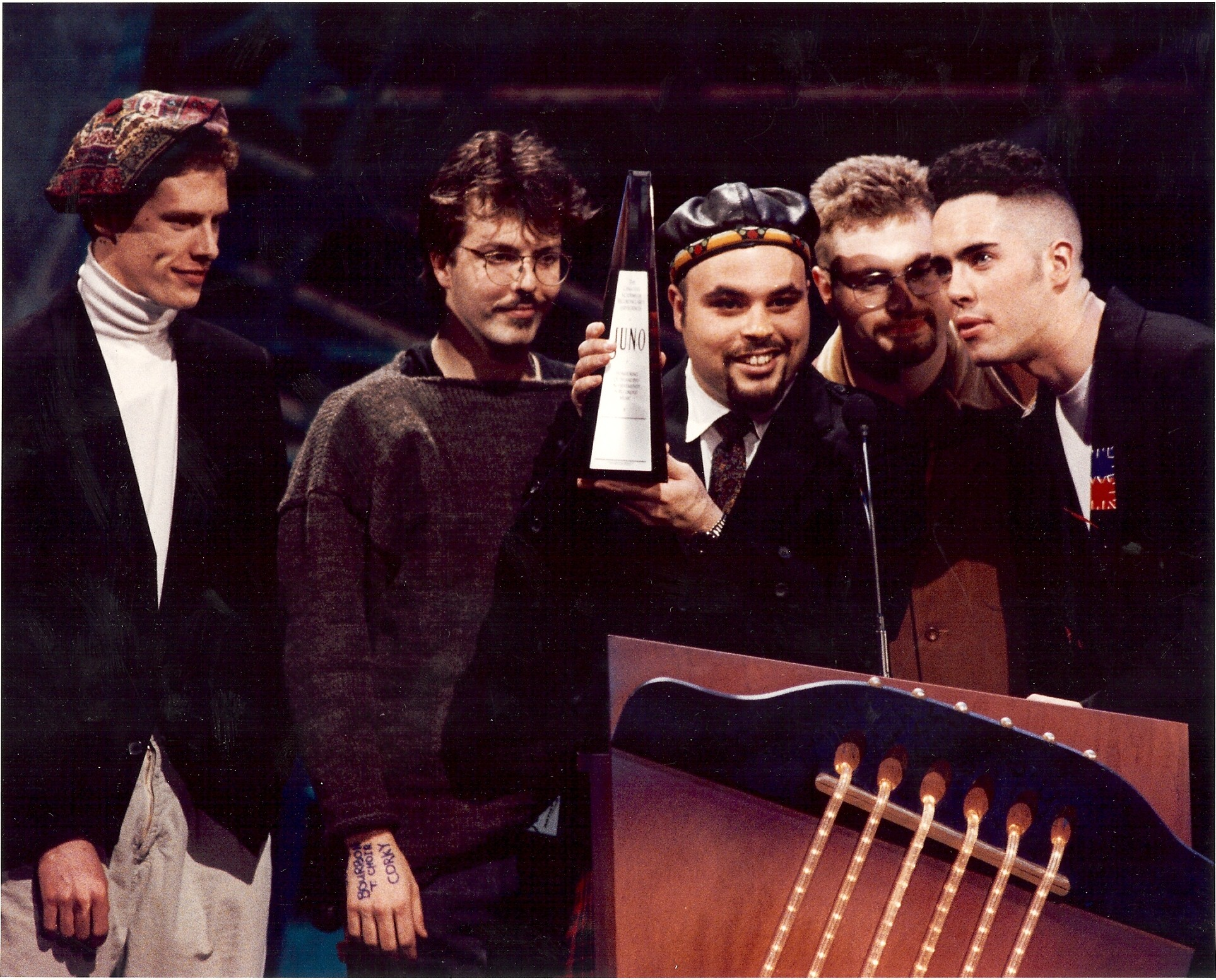 Blast from the past: The band collect their first Juno in 1993, winning Group of the Year. Credit: http://canadianmusichalloffame.ca